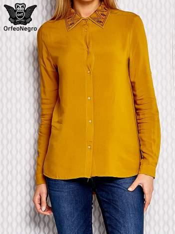 Koszula z folkowym haftem i dłuższym tyłem żółta