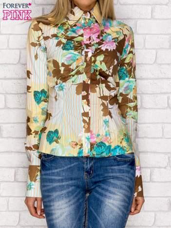 Koszula z nadrukiem kwiatów i pasków turkusowa