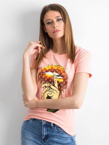 Koszulka damska z printem brzoskwiniowa