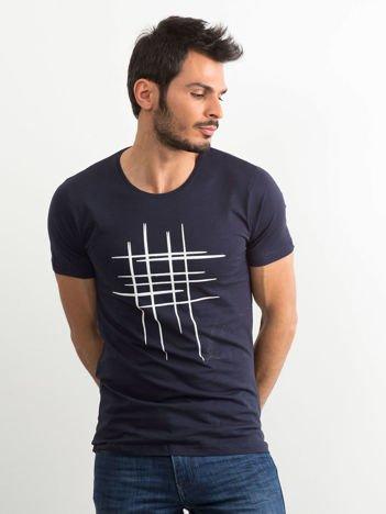 Koszulka męska z bawełny granatowa