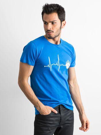 Koszulka z bawełny z nadrukiem niebieska