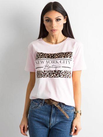 Koszulka z motywem zwierzęcym jasnoróżowa