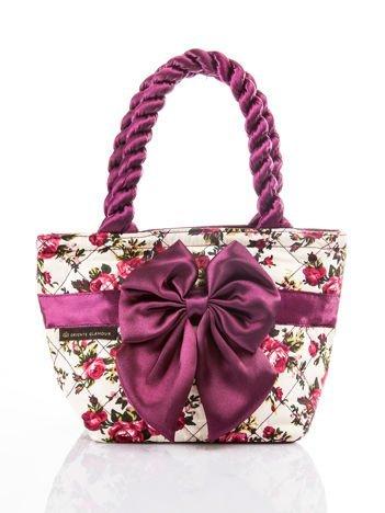 Kremowo-fioletowa pikowana kosmetyczka vintage w kwiaty