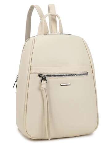 Kremowy plecak damski z kieszenią LUIGISANTO