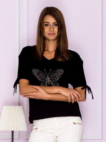 Krótka bluzka z aplikacją motyla czarna