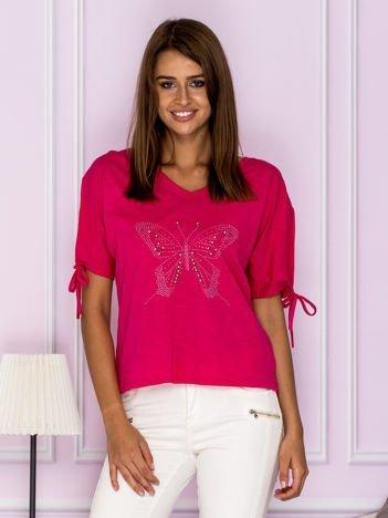 Krótka bluzka z aplikacją motyla różowa