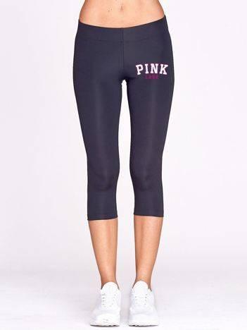 Krótkie legginsy do biegania PINK LOVE z nadrukiem grafitowe