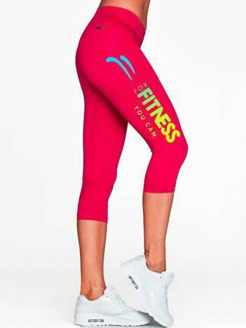 Krótkie legginsy do biegania z kolorowym printem fuksjowe