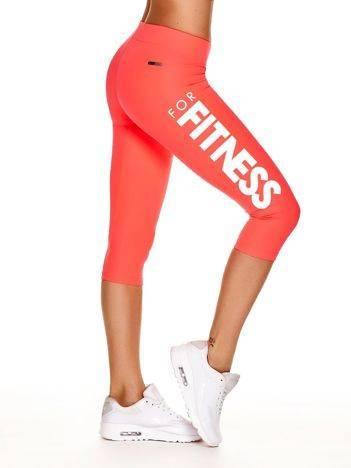 Krótkie legginsy do biegania z napisem FOR FITNESS fluoróżowe