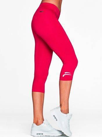 Krótkie legginsy na siłownię z kontrastowym logo fuksjowe