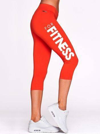 Krótkie legginsy na siłownię z kontrastowym nadrukiem ciemnopomarańczowe