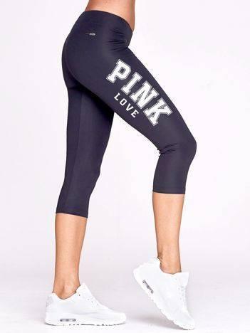 Krótkie legginsy sportowe z napisem PINK LOVE grafitowe