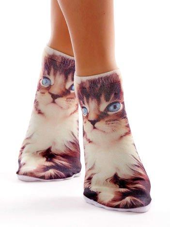 Krótkie skarpetki damskie z kotem