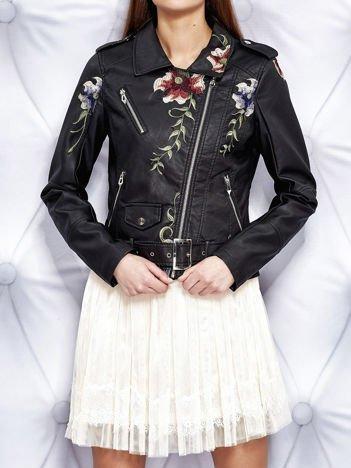 Kurtka biker z kwiatowymi haftami i paskiem czarna