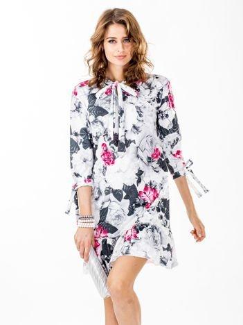 Kwiatowa sukienka jasnoszara z wiązanymi rękawami