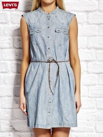 LEVIS Jasnoniebieska jeansowa sukienka z wiązaniem