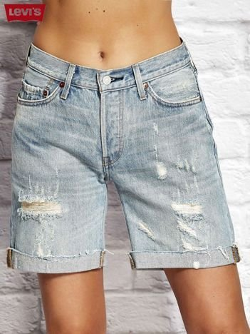 LEVIS Niebieska jeansowe szorty z przetarciami
