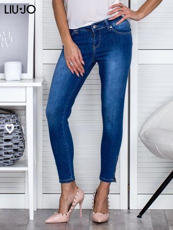 LIU JO Niebieskie jeansy damskie z suwakami