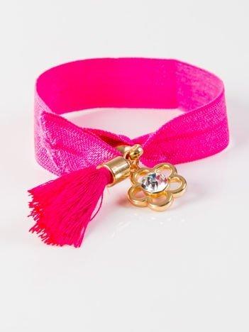 LOLITA Bransoletka różowa z tasiemki z zawieszkami