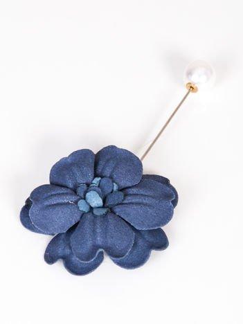 LOLITA Broszka granatowa z perłową zatyczką