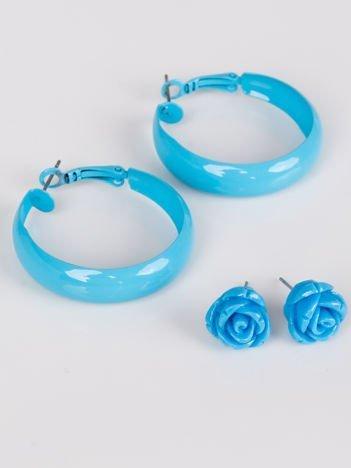 LOLITA Kolczyki damskie błękitne komplet koła różyczki