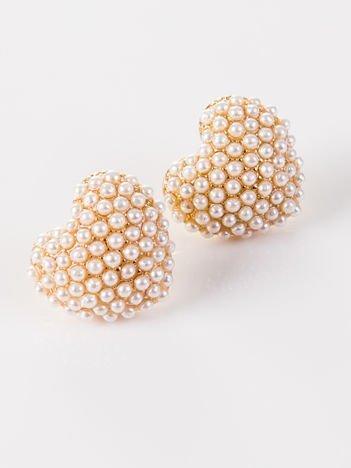 LOLITA Kolczyki damskie złote Serduszka z perełkami