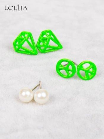 LOLITA Kolczyki zielone PACYFA perła PAKA 3 szt
