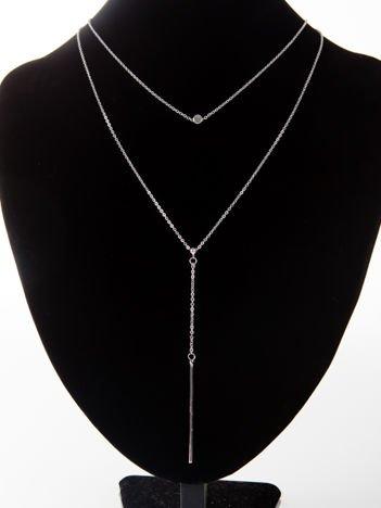 LOLITA Naszyjnik srebrny podwójny z wisiorkiem
