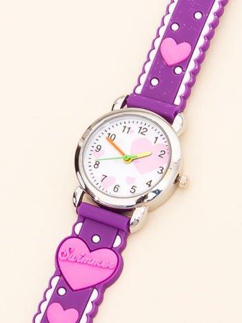 LOVE Dziecięcy Fioletowy Zegarek Serduszka