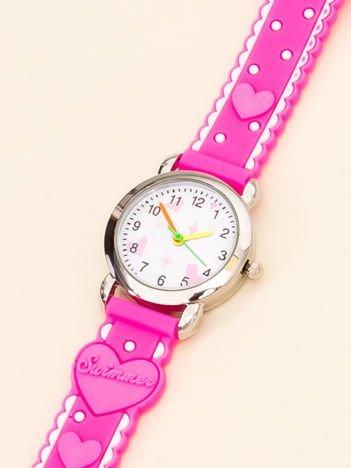 LOVE Dziecięcy Różowy Zegarek Serduszka