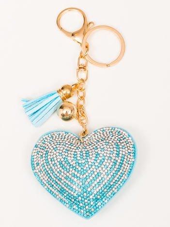 LOVE Niebieski Brelok Serce z chwostem