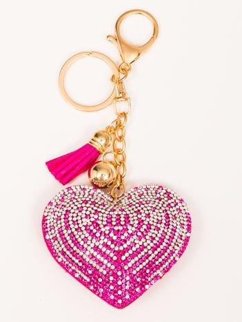 LOVE Różowy Brelok Serce z chwostem