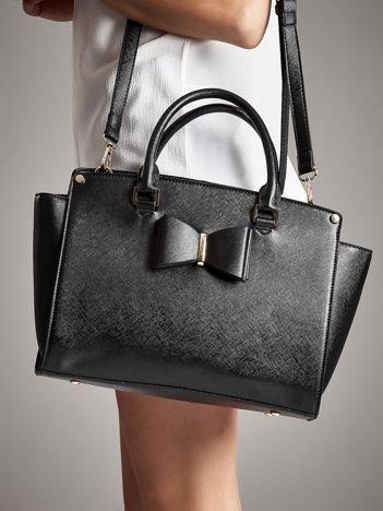 LYDC Czarna torba shopper bag z ozdobną kokardą