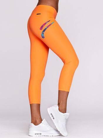 Legginsy fitness z kolorowym logo fluo pomarańczowe