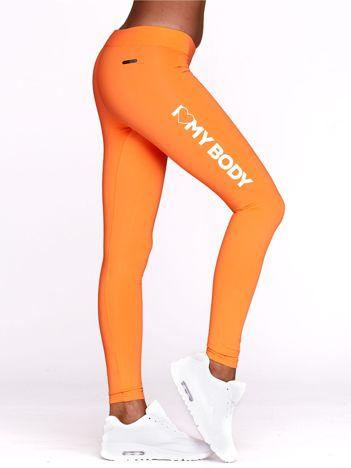 Legginsy sportowe z nadrukiem I LOVE MY BODY fluopomarańczowe
