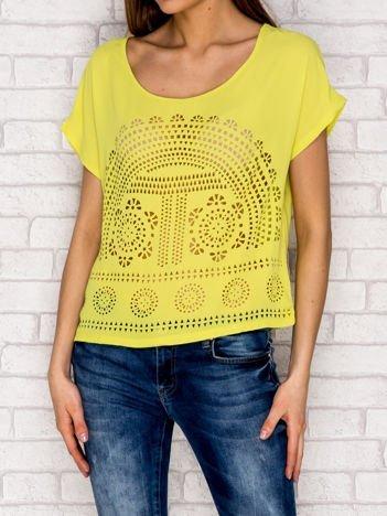 Limonkowa koszula mgiełka ażurowa