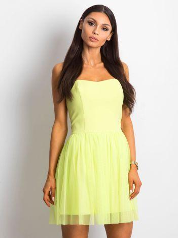 Limonkowa sukienka bez ramiączek z tiulem
