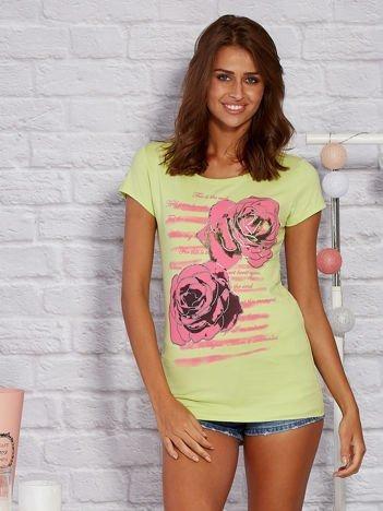 Limonkowy t-shirt w róże