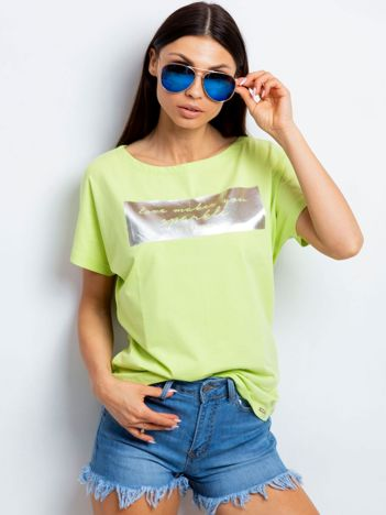 Limonkowy t-shirt z błyszczącym nadrukiem