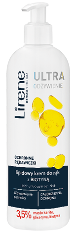 Lirene Lipidowy krem do rąk z biotyną OCHRONNE RĘKAWICZKI 180 ml