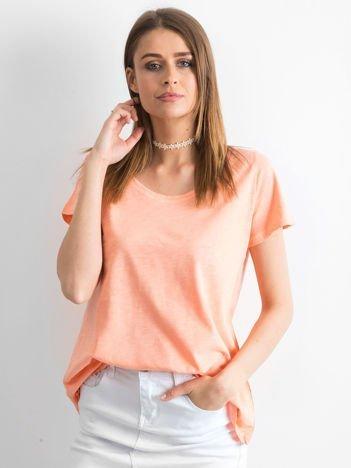 Łososiowy t-shirt damski basic