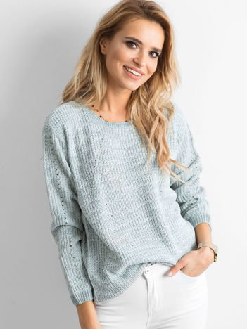 Luźny sweter damski zielony