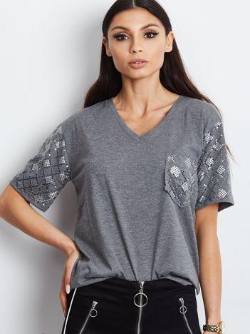Luźny t-shirt V-neck z cekinami ciemnoszary