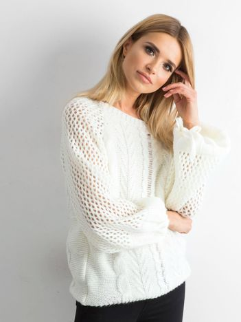 MAGPIE Biały sweter w warkocze