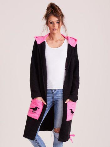 MAGPIE Czarno-różowy sweter damski z kapturem