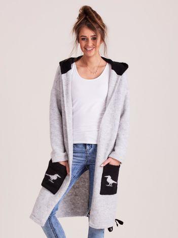 MAGPIE Jasnoszary sweter z kapturem