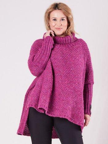 MAGPIE Różowy dziergany sweter z golfem