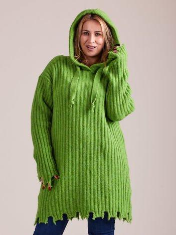 MAGPIE Zielony długi sweter w prążek