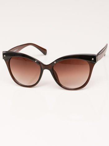 MANINA Okulary przeciwsłoneczne damskie brązowe szkło brązowe dymione