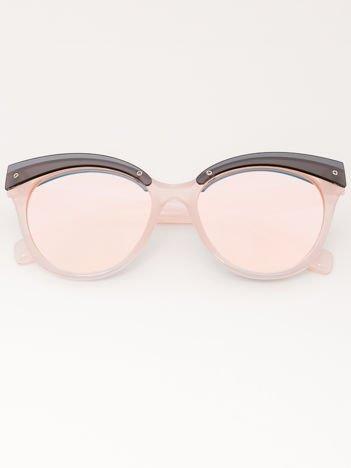 MANINA Okulary przeciwsłoneczne damskie różowe szkło różowe lustrzanka